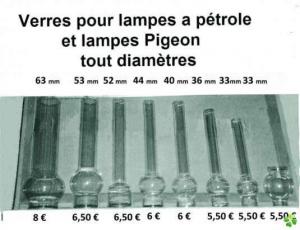 Différentes tailles de verre de lampe