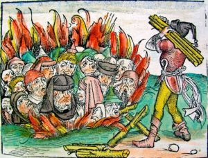 """Des médecins juifs brûlés vifs pendant la peste noire. Détail d'une gravure illustrant """"L'histoire du monde"""" par le médecin allemand Hartmann Schedel en 1493"""