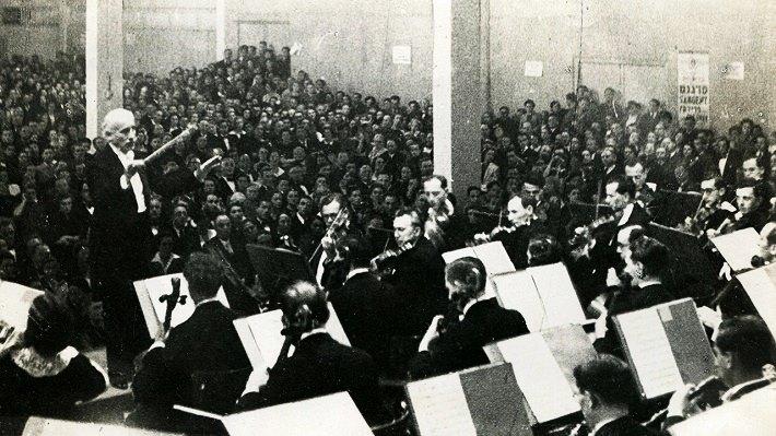 Toscanini dirige le premier concert de l'Orchestre Symphonique de Palestine